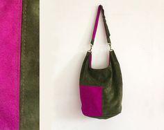 christmas gift, borsa in pelle regali per lei, abbigliamento donna made in italy, borsa tracolla o da spalla verde e fucsia, limited edition di BBagdesign su Etsy