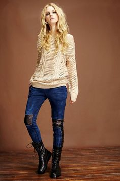 Plush Lining Skinny Jeans With Contrast Panel