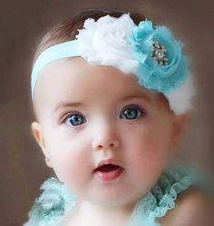 aqua and white shabby chic baby headband, pink flower headband, baby girl headband, newborn toddler headband Cool Baby, Cute Little Baby, Baby Love, Cute Babies, Baby Girl Images, Cute Baby Girl Pictures, Vintage Headbands, Baby Girl Headbands, Flower Headbands