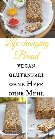 "Life Changing Bread: vegan, ohne Hefe & glutenfrei If you like to eat healthy bread, then try this ""Life Changing Bread"". It's vegan, yeast-free and flour-free and tastes soooo fantastic. Yummy Recipes, Gluten Free Recipes, Low Carb Recipes, Baking Recipes, Vegan Recipes, Yummy Food, Pizza Recipes, Paleo Bread, Food Inspiration"