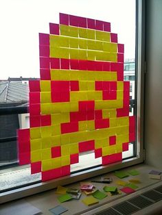 Check out the window designs created by French office workers from the contents of the stationery cupboard