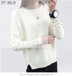 2849fb09d0 Women Cashmere Beading O-Neck Sweater Knitted Shirt Tops Long Sleeves Loose  Fashion Sweater Pullover All-match Coats