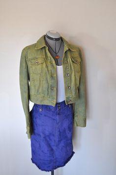 fcb893d879e Sage Denim JACKET - Sage Green Hand Dyed Upcycled Loft Cropped Denim Jacket  - Size 10 Medium (42 chest)