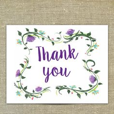 Watercolor Thank You cards with matching envelopes by PixieChicago