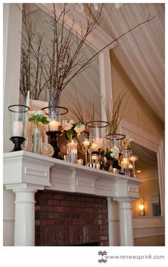 Add some color and this is the perfect mantle!    Highgrove Estate/Fuquay-Varina wedding  |  Michelle + Joe