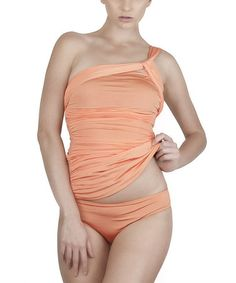 Another great find on #zulily! Coral Cleo Control Asymmetrical Tankini by 1 Sol Swim #zulilyfinds