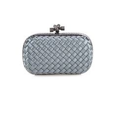 Bottega Veneta Knot satin and watersnake clutch (€1.565) ❤ liked on Polyvore featuring bags, handbags, clutches, grey, satin clutches, bottega veneta purse, grey purse, gray handbags and bottega veneta
