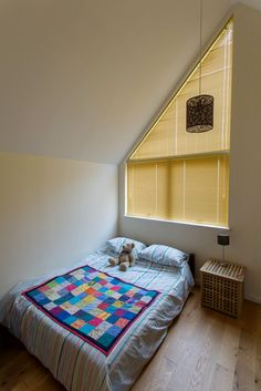 Triangular Aluminium Venetian Blinds in Yellow by Grand Design Blinds; Specialists in Shaped Blinds Grand Designs, South London, Venetian, Window Treatments, Blinds, House Design, Windows, Bedroom, Yellow