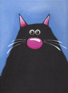 Original acrylic canvas painting whimsical black fat cat art The Blue Cat (2) #Modernism