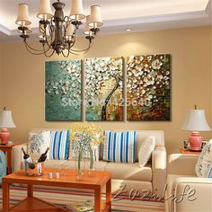 Aliexpress.com : Buy 3 Piece Hand Painted Palette Knife Flower Tree Oil Painting Wall Art Canvas Picture Modern Abstract Home Decor Living Room Set from Reliable painting decorating london suppliers on Eazilife Oil Painting  | Alibaba Group