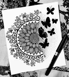 Mandala Art Therapy, Mandala Art Lesson, Mandala Artwork, Mandala Painting, Easy Mandala Drawing, Doodle Art Drawing, Cool Art Drawings, Watercolor Mandala, Butterfly Mandala