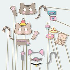 Cat mask cat birthday kitty ears girl party not pusheen