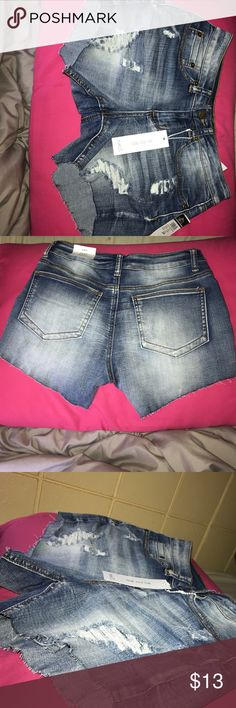 Jean shorts Distressed jean shorts. Perfect for casual wear or a nice warm day outside! 54% cotton 26% polyester 19% rayon 1% spandex. Perfect condition, never worn! Rue21 Shorts Jean Shorts