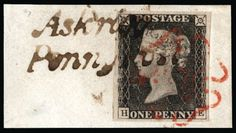 """GB 1840 SG3 Pl.3 Penny Black used with a """"Penny Post"""" cancellation 1840 1d Grey black Pl.3. Superb used large four margin example lettered HE, neatly tied to a small piece by a crisp red MC and a black """"Askrigg/Penny Post"""" handstamp. An exceptionally attractive piece."""