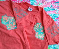 Lilly Pulitzer Fabric State Sorority BIG/LITTLE Embroidered Shirt (Short Sleeve, Long Sleeve or Tank)