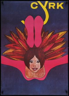CYRK Polish Circus Poster, 26x36 '70s really different art of woman with feathers by Witold Janowski!