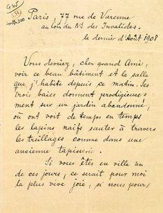 Carta de Rainer Maria Rilke a Auguste Rodin,1908