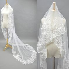 Single Layer Wedding Veil with Embroidery by dreamupwedding