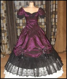 victorian purple lace   Vtg 80s Victorian Southern Belle Ball Gown Dress Gothic Princess ...