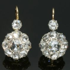 Antique Victorian cluster diamonds earrings from adin on Ruby Lane