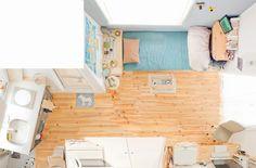 狭くても楽しく暮らす。小さなワンルームのインテリア | goodroom journal Small Room Decor, Small Room Bedroom, Small Rooms, Small Apartments, Small Spaces, Apartment Interior, Room Interior, Small Apartment Layout, Japanese Apartment