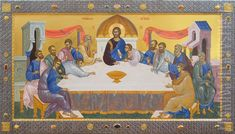 This big icon of the Last Supper is painted with tempera in the Icon Painting Studio of St Elisabeth Convent. Painted Cups, Hand Painted, Trinidad, Paint Icon, Metal Workshop, Religious Paintings, Byzantine Icons, Painting Studio, Last Supper