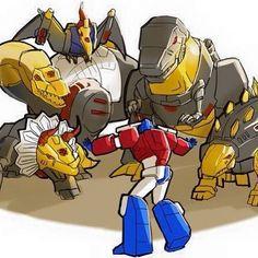Optimus Prime controlling the Dinobots ^_^ ^.^ ♡