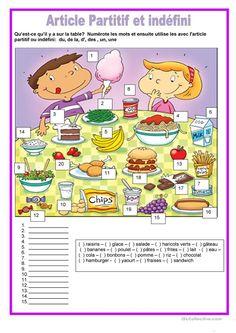 Nourriture - article partitif et indéfini