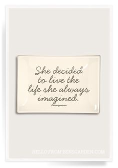 She Decided To Live The Life Decoupage Glass Tray - Ben's Garden - $54.00