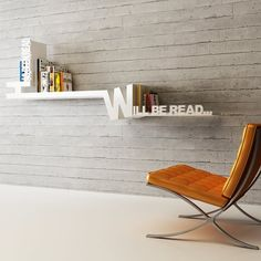 Typographic Bookshelf / This Typographic Bookshelf from Meb Rure Design Studio is an interesting innovation that gives an otherwise ordinary bookshelf a designer look and feel. http://thegadgetflow.com/portfolio/typographic-bookshelf/