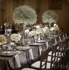 1000 images about winter wedding on pinterest winter for Silver centerpieces for dining table