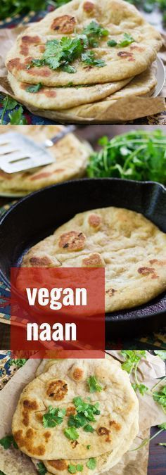 Locating vegan naan can be a challenge. That's no problem though, because it… Locating vegan naan can be a challenge. That's no problem though, because it's way easy to make at home, and these buttery loaves are a million times more delicious than anythin Vegan Foods, Vegan Snacks, Vegan Dishes, Paleo Diet, Indian Food Recipes, Whole Food Recipes, Vegetarian Recipes, Healthy Recipes, Vegan Indian Food