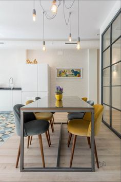 3 Ways An Industrial Dining Room Will Work For You Industrial Style Lamps, Industrial Dining, Swivel Dining Chairs, Dining Table, Dining Room Lighting, Dining Room Design, Decoration, Sweet Home, Room Decor