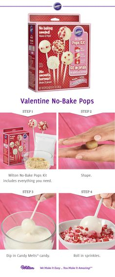 This No-Bake Pops Kit makes it so easy to create Valentine's Day treats! Kit contains everything you need to make 12 pops; Candy Melts® Candy, No-bake pops mix, Ready-to-use icing, sticks and sprinkles!