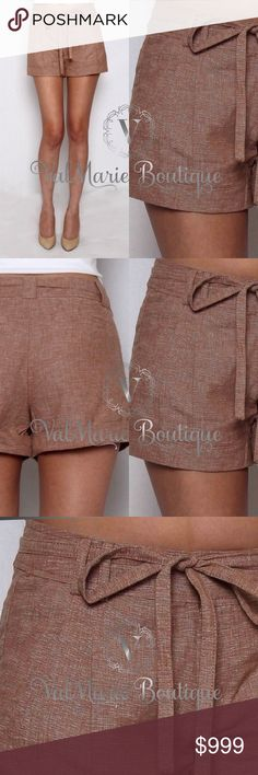 """COMING SOON - MOCHA LINEN SHORTS GORGEOUS MOCHA TEXTURED LINEN SHORTS - SELF-TIE BELT PLEAT-FRONT CUFFED BOTTOM LINEN SHORTS - Inseam 3"""" for small, 3.25"""" for medium, 3.5"""" for large  Content: 55% LINEN, 45% COTTON - FITS TRUE TO SIZE. S(2-4) M(6-8) L(10-12) - Price is absolutely firm unless bundled. ValMarie Boutique Shorts"""