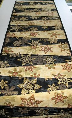 Snowflake Table Runner Christmas gold metallic quilted