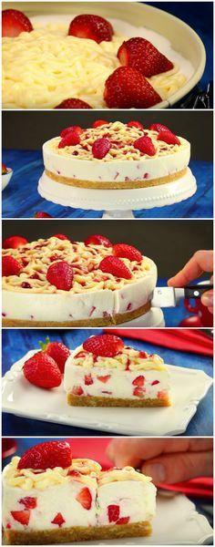 A receita de Torta de Morango mais fácil que você vai encontrar, e mais gostosa também! #torta #sobremesa #tortademorango