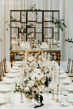 Modern Black and White Wedding, Gold Wedding Table Setting, Geometric Wedding Decor | ElegantWedding.ca