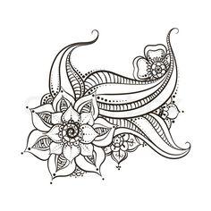 Stock vector of 'Mehndi flowers design on white background'