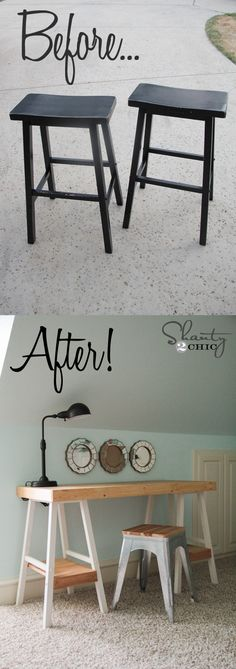 LOVE this desk made from two barstools... So simple and so cute! www.shanty-2-chic.com