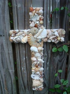 Seashell Wooden Cross with Nautilus Shell by MyHoneypickles