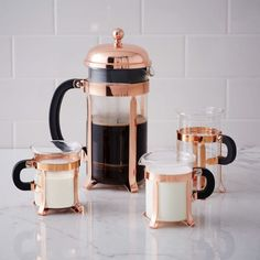 Bodum Copper Coffee Collection. West Elm. ip your coffee in style with this sleek Coffee Set from Bodum. Each Chambord-inspired piece features a glass vessel and sturdy copper-finished steel body.