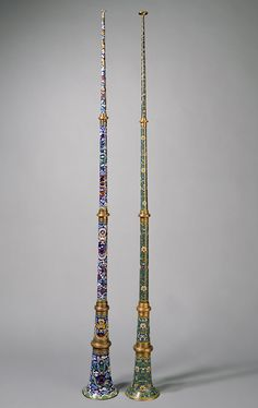 Chinese rag-dung musical instruments, cloisonne, copper and brass, Ming dynasty (1368–1644)