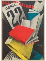 Dia Del Libro poster, Designed by Jose Morell Graphic Illustration, Graphic Art, Spanish Posters, Barcelona, Book Reader, Vintage Travel Posters, Book Design, Auction, Art Deco