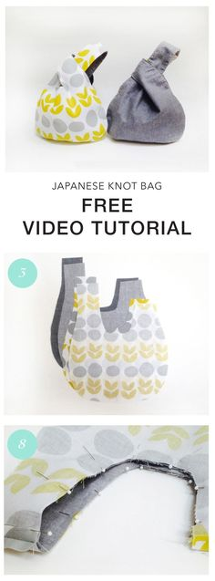Reversible Japanese Knot Bag video tutorial. Learn how to make this easy and quick beginner project.