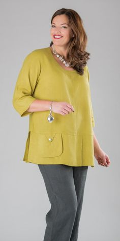 Kasbah lime linen button short sleeve top, £70.0, in lime. | Box2