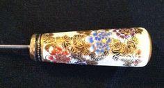 Very Long & Beautiful Satsuma Antique Hat Pin