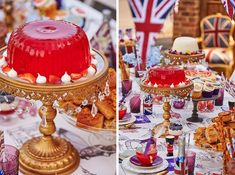 British Street Party Theme | Royal Cupcakes | Jelly | Gold Cake Stand | Kate Spade Crockery | Gold Cutlery | Plum Glassware | British Colour Palette | Royal 90th | Luxury Events