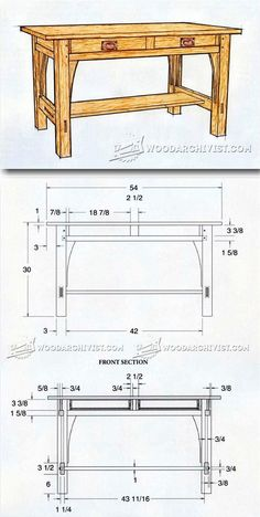 Library Table Plans - Furniture Plans and Projects | WoodArchivist.com #woodworkingprojects