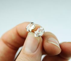 Herkimer diamond earrings. with either sterling or oxidized silver. Nice chunky crystal earrings